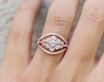 Natural Diamond Ring, Unique Engagement Ring, Lilly Flower Diamond Ring, Gold Flower Ring 14K Rose Gold, 7.0 US Size