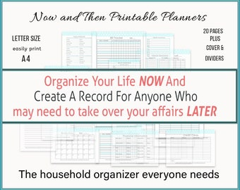Household Organizer Printables Binder, Important Papers Organizer, Life Organizer Elderly Care, Gift For Mom From Daughter, Letter Size, A4