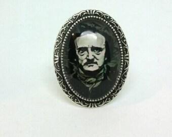 Edgar Allan Poe Ring Adjustable Black Cat Horror