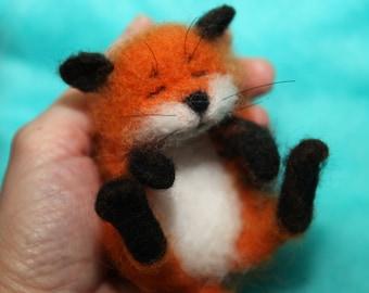 needle felted/ miniature/wool sculpture/ fox/ handmade gift
