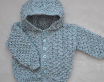 Baby hooded cardigan in cashmerino wool, jacket, sweater, hoodie, baby knits