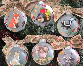 Personalized Forest Animal Ornaments - Woodland Ornaments - Fox, Hedgehog, Skunk, Squirrel, Rabbit, Raccoon Ornament