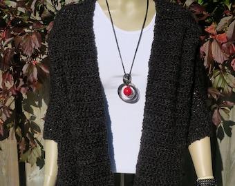 Shawl / Super Soft Crochet Shawl / Shawl / Women's Shawl / Crochet Shawl / Wrap / Lap blanket / Prayer Shawl / Winter Shawl  / Black Shawl