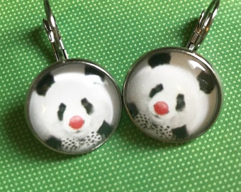 Panda with red nose glass cabochon earrings - 16mm