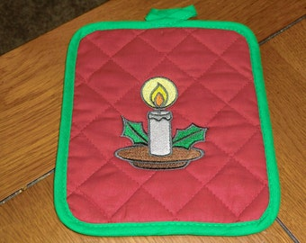 Embroidered Hot Pad - Christmas Candle