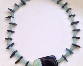 Large Agate Druzy Pendant, aventurine, gemstone slices, hammered silver toggle clasp, gemstone necklace, silver necklace, beaded necklace