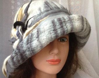 white grey wool hat nunofelt hat designer hat women's felted , merino wool , mohair ,ladies felted hat beige black grey gray white