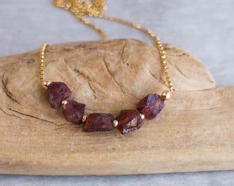 Raw Garnet Necklace, Raw Stone Necklace, Gift for Her, Garnet Jewelry, Raw Crystal Jewelry, Healing Crystal Necklace, Gemstone Necklace