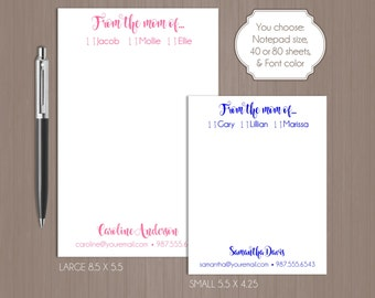 Personalized From The Mom Of Notepad . Personalized Note Pad .  Large Notepad . Small Notepad . Boutique . Custom Notepad . Mom Notepad