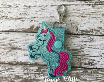 Unicorn Rearing Keychain, Backpack Clip, or Purse Clip