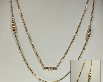 Long Gold Chain Link Necklace, Vintage