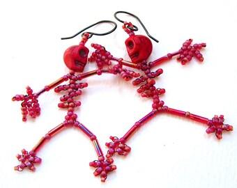 Beaded Skeleton Earrings, Red