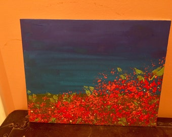 Abstract Red Flower Painting