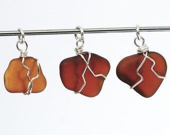 Sea Glass Pendants- 3 silver & amber and brown beach glass pendants, beach jewelry, seaglass pendant, wire wrapped recycled glass pendants