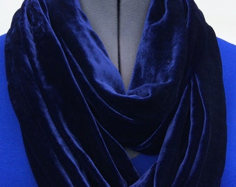 Beautiful Silk Velvet Infinity Scarf in Rich Deep Navy