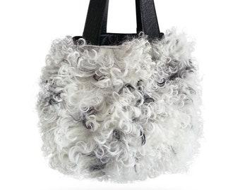 M.KUB B Lamb fur cube handbag