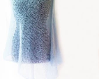 Mohair mariage - bridal cover up - mohair scarf - knitted shawl - evening shawls wraps - bridal shawl - bridal wrap - light blue shawl stola