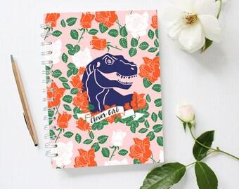 Dinosaur Notebook, Clever Girl Notebook, Raptor Notebook, Trex, Pink Notebook, Lined Notebook, Spiral Notebook,
