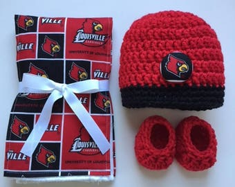 University of Louisville hat, booties and burp cloth for baby, Louisville Cardinals baby shower gift, Louisville crocheted hat and booties