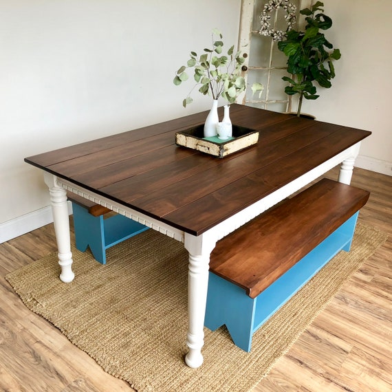 Farmhouse Dining Table with two Benches - Painted Distressed Furniture