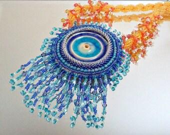 Blue and Orange Beadwoven Necklace Sparkling Sunsplash