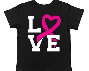 Love Heart Pink Ribbon Breast Cancer Survivor Awareness October Infant T-Shirt KID-0021
