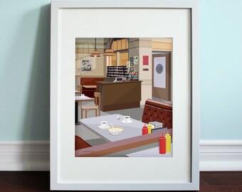 Monk's Cafe - Seinfeld, Jerry Seinfeld Art Print, TV Sitcom