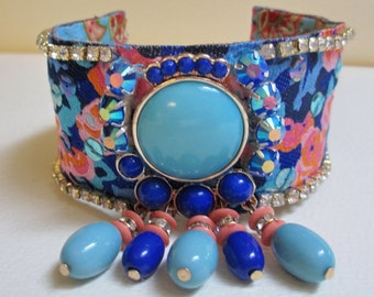 Cuff Bracelet Aqua Blue Pink Floral Fabric