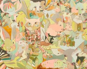 Woodland Sweeties Canvas Print by Jennifer Mercede 14x10in