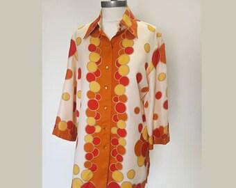 Vintage 70s bubble print oversize tunic