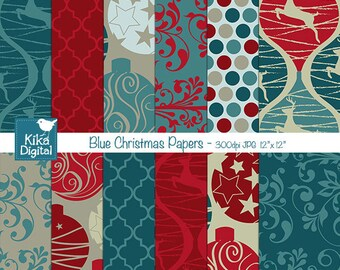 Blue Christmas Digital Papers - Scrapbooking Papers - card design, invitations, paper crafts, web design - INSTANT DOWNLOAD