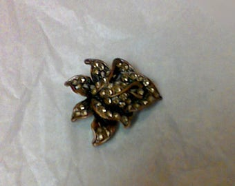 Vintage Costume Jewelry Brass Orchid Brooch With Amber Colored Rhinestones