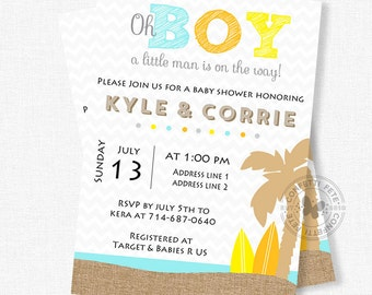 Surf Baby Shower Invitation, Beach Baby Shower Invitation, Little Man Shower, Boy Baby Shower Invitation, Oh Boy Invitation