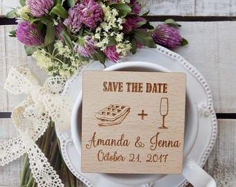 Waffle-Wood-Wedding-Magnets, Rustic-Wood-Magnet, Wooden Magnet, Wooden-Save-The-Date-Magnet, Rustic Wooden Save The Date Magnet