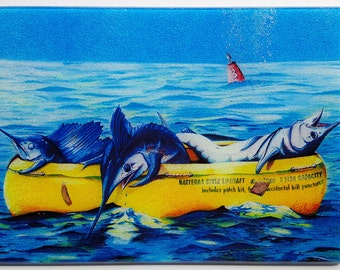 Hatteras Style Liferaft glass cutting board serving tray humorous sportfishing gift