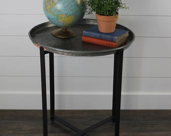 Metal Folding Side Table with Tray Top