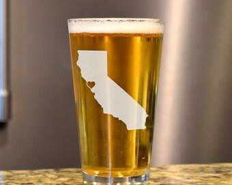 Beer Glass - Custom Beer Glass - State Pint Glass - Pint Glass - Personalized Pint Glass - Etched Pint Glass - Groomsmen Pint Glass