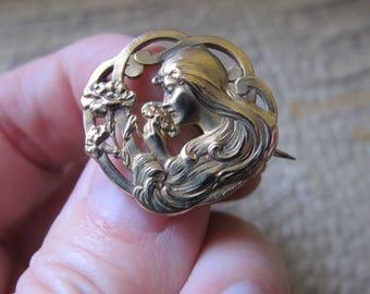 "Antique ""Titre Fixe"" 18k Karat Gold Filled Pin, Small Brooch. French France, Art Nouveau Circa 1900. Parisian Art Nouveau. E Dropsy Signed"