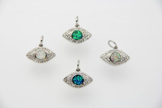 Synthetic Opal With CZ Micro Pave 10x17mm Evil Eye Charm