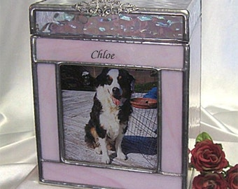 Pet Urn Medium #2 Dog Cremation Photo Urn in stained glass