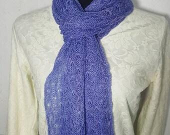 Handmade Alpaca Scarf, Suri Alpaca Scarf, Knit Lace Scarf, Homegrown Suri Alpaca, 100% Alpaca Scarf, Hand Dyed Periwinkle