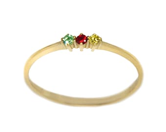 Triple Stone Ring, Mothers Ring, Family Ring, Birthstone Rings, Personalized Ring, Gold Stacking Ring, Thin gold ring, Gold Ring, Cz Ring