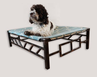 Handmade Pet Bed, Durable Washable Fabric, Modern Rustic Steel Pet Bed, Made in USA, Free Shipping