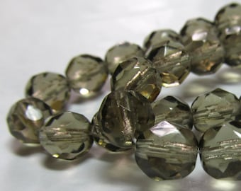 Czech Glass Beads 8mm Smoky Brown Faceted Rounds - 16 Pieces