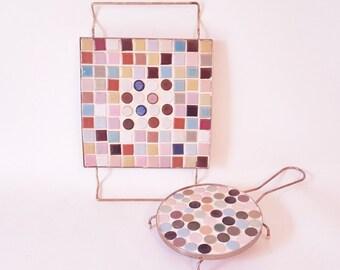Midcentury Tiled Trivets Trays Ceramic  Pot Holders Mosaic Kitchen Tiles Trivets Vintage  Pink White Blue Tiled Mosaic Pot Holders Cottage