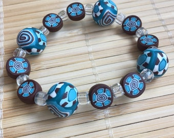 Brown and Blue Beaded Stretch Bracelet - Adjustable handmade Jewelry for Women Gift for Mom Teacher Sister Wife Girlfriend Anniversary