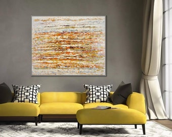 """Warm Color Painting Original Contemporary Art Hand Painted Heavy Textured Palette Knife Modern Abstract Wall Art Painting 60"""" 150cm XL"""
