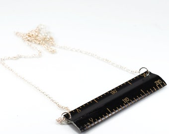 Typewriter Ruler Necklace- Black Ruler Jewelry, Contemporary Jewelry, Upcycled Jewelry, Recycled, Found Object Jewelry by Tanith Rohe