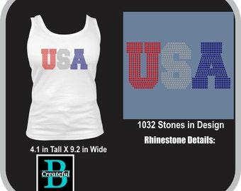 USA, Patriotic, July 4th Rhinestone design, digital download