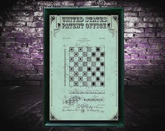Checker and chess Patent Print, chess Gift, chess Patent Print, Wall Decor, Patent Decor, chessDecor, chessArt